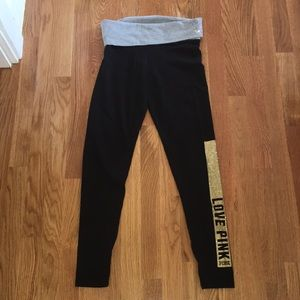 PINK foldover yoga leggings